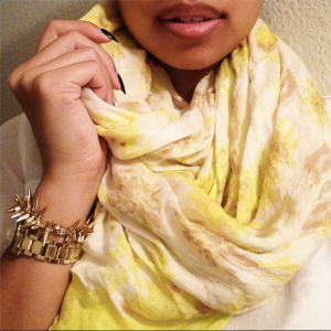 Wearing Stella & Dot Scarf & Bracelet, Burberry Watch.