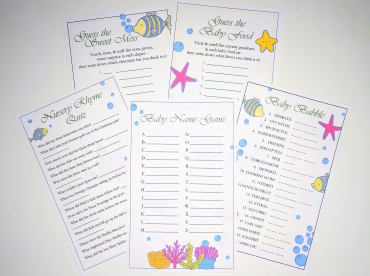 UNDER THE SEA Baby Shower Game Bundle